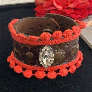 ✨Adorned Crown Vintage leather coral & bling cuff